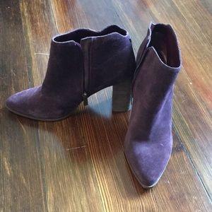 Plum purple heeled booties